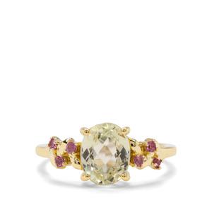 Minas Novas Hiddenite & Rajasthan Garnet 9K Gold Ring ATGW 2.53cts