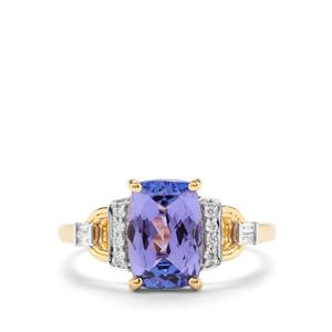 AAA Tanzanite Ring with Diamond in 18K Gold 2.61cts