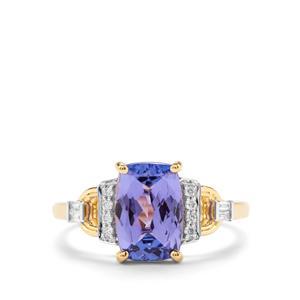 AAA Tanzanite & Diamond 18K Gold Lorique Ring MTGW 2.61cts