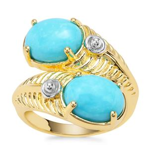 Sleeping Beauty Turquoise Ring in Gold Plated Sterling Silver 4.38cts
