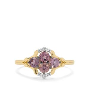 Pink Spinel & White Zircon 9K Gold Ring ATGW 0.78ct