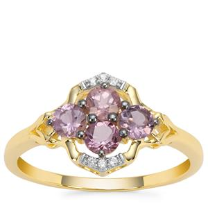 Pink Spinel Ring with White Zircon in 9K Gold 0.78cts