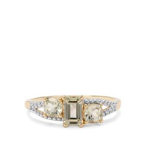 Csarite® & Diamond 9K Gold Ring ATGW 1.36cts