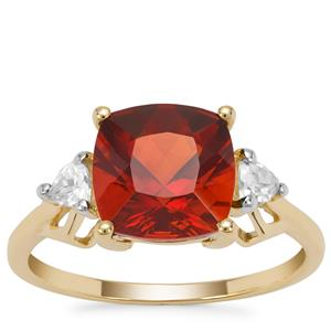 Madeira Citrine Ring with White Zircon in 9K Gold 2.85cts