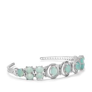 Aquaprase™, White Zircon Cuff Bangle with Blue Diamond in Sterling Silver 10.78cts