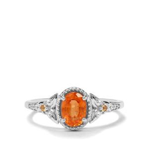 Mandarin Garnet, Diamantina Citrine & White Zircon Sterling Silver Ring ATGW 1.25cts