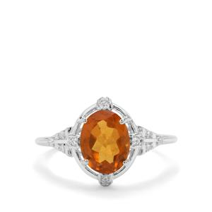 Burmese Amber & White Zircon Sterling Silver Ring ATGW 0.85ct