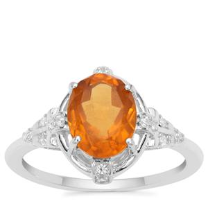 Burmese Amber Ring with White Zircon in Sterling Silver 0.85ct