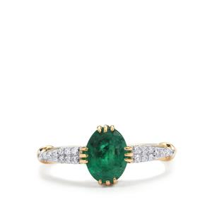 Minas Gerais Emerald Ring with Diamond in 18K Gold 1.51cts