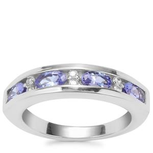 Tanzanite Ring with White Zircon in Sterling Silver 1.03cts