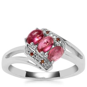 Pink Tourmaline Ring with Red Diamond in Sterling Silver 0.84cts