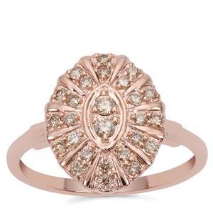 Argyle Diamond Ring in 9K Rose Gold 0.34ct