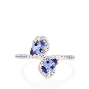 AA Tanzanite Ring with White Zircon in 10k Gold 1.05cts