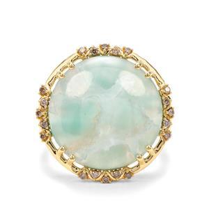Aquaprase™ & Champagne Diamond 18K Gold Tomas Rae Ring MTGW 10.54cts