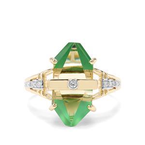Lehrer Cosmic Obelisk Green Gold Quartz, Green Onyx & Diamond 9K Gold Ring ATGW 6.60cts