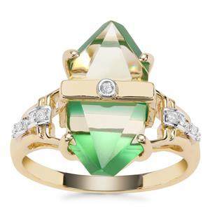 Lehrer Cosmic Obelisk Green Gold Quartz, Green Onyx Ring with Diamond in 9K Gold 6.60cts