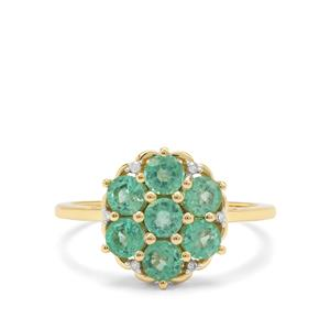 Ethiopian Emerald & Diamond 9K Gold Tomas Rae Ring ATGW 1.23cts