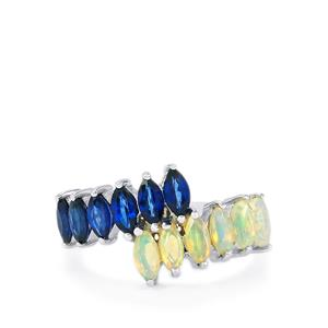 Ethiopian Opal & Sri Lankan Sapphire Sterling Silver Ring ATGW 1.58cts