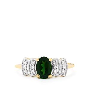 Chrome Diopside & White Zircon 9K Gold Ring ATGW 1cts