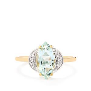 Espirito Santo Aquamarine & White Zircon 10K Gold Ring ATGW 1.45cts