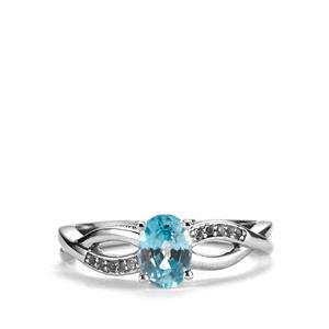 Ratanakiri Blue Zircon & White Topaz Sterling Silver Ring ATGW 1.33cts
