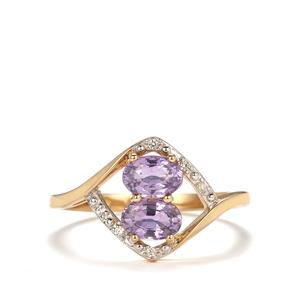 Natural Purple Sapphire Ring with White Zircon in 9K Gold 1.24cts