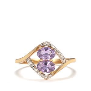 Natural Purple Sapphire & White Zircon 9K Gold Ring ATGW 1.24cts