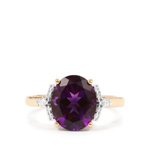 Moroccan Amethyst Ring with Diamond in 18k Gold 3.27cts