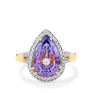 Lehrer TorusRing AA Tanzanite & Diamond 18K Gold Ring MTGW 3.37cts