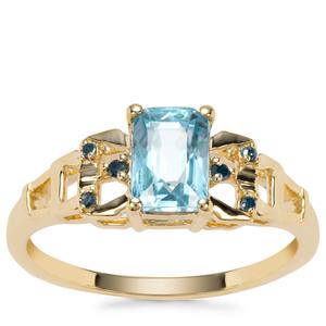 Ratanakiri Blue Zircon Ring with Blue Diamond in 9K Gold 1.64cts
