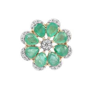 Zambian Emerald & White Zircon 9K Gold Pendant ATGW 2.70cts