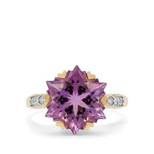 Wobito Snowflake Cut Bahia Amethyst Ring with Diamond in 9K Gold 7.30cts