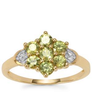Ambanja Demantoid Garnet Ring with Diamond in 9K Gold 1.20cts