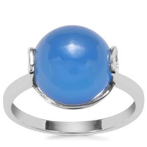 Blue Chalcedony Ring in Sterling Silver 5.04cts