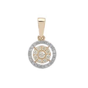 1/3ct Natural Yellow & White Diamond 9K Gold Pendant