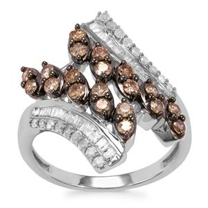 Champagne Diamond Ring with White Diamond in Sterling Silver 1ct