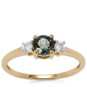 Mahenge Blue Spinel Ring with White Zircon in 9K Gold 0.69cts