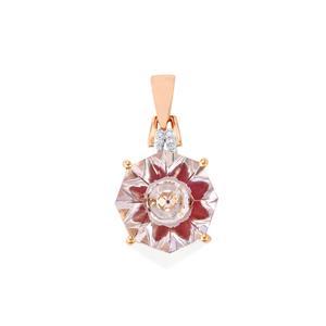 Lehrer KaleidosCut Rose De France Amethyst, Thai Ruby & Diamond 9K Rose Gold Pendant ATGW 5.25cts (F)