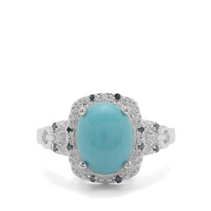 Sleeping Beauty Turquoise, Sky Blue Topaz Ring with Blue Diamond in Sterling Silver 3.15cts
