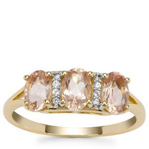 Peach Parti Oregon Sunstone Ring with White Zircon in 9K Gold 1.37cts
