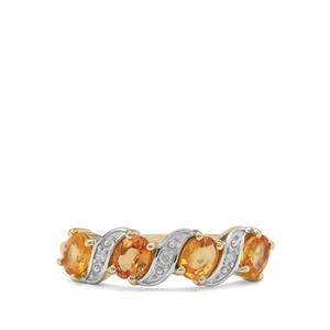 Tanzanian Sunset Sapphire Ring with Diamond in 9K Gold 1.24cts