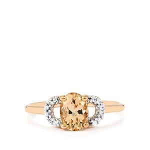 Mutala Morganite & White Zircon 9K Rose Gold Ring ATGW 1ct