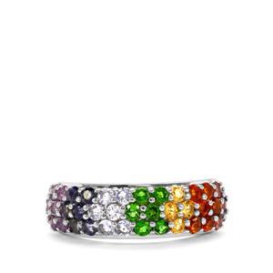 1.48ct Rainbow Gemstones Sterling Silver VIBGYOR Ring