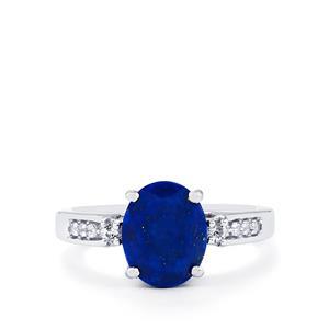 Sar-i-Sang Lapis Lazuli & White Topaz Sterling Silver Ring ATGW 2.68cts