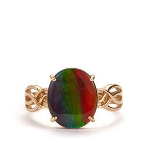 AA Ammolite Ring in 9K Gold (12mm x 10mm)