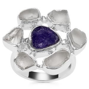 Tanzanite Ring with White Topaz in Sterling Silver 9.64cts