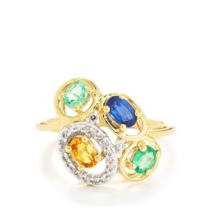 Harlequin Ring with Diamond in 10K Gold 1.21cts