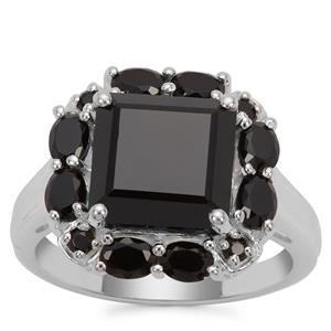 Black Spinel Ring in Sterling Silver 10.49cts