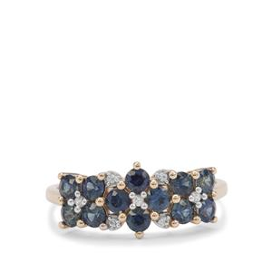 Australian Blue Sapphire Ring with White Zircon in 9K Gold 1.30cts