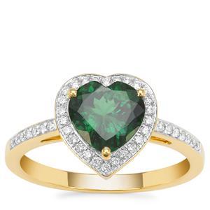 Tsavorite Garnet Ring with Diamond in 18K Gold 2.03cts